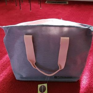 NWT Denim with pink trim and handle duffel bag